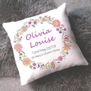 Floral circle personalised cushion