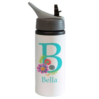 Flowers Initial Bottle with Straw