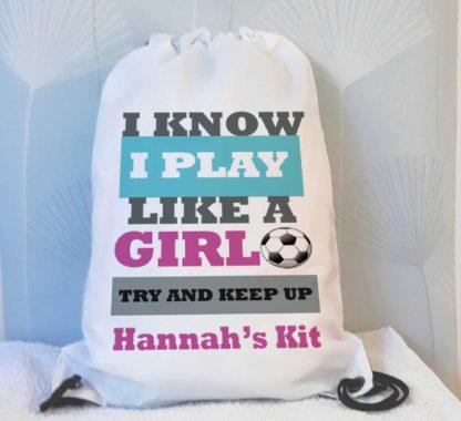 girls football text bag
