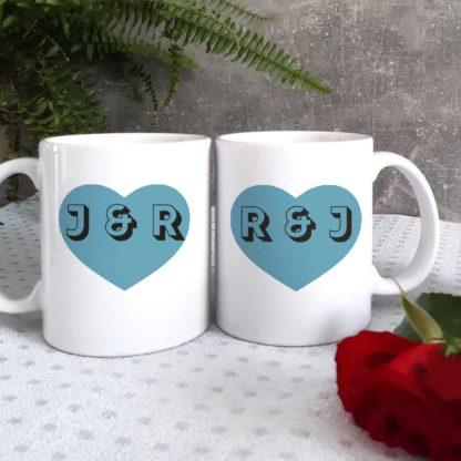 initial heart mugs