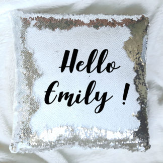 name sequin cushion