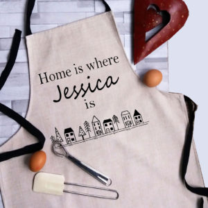 Personalised linen adult apron