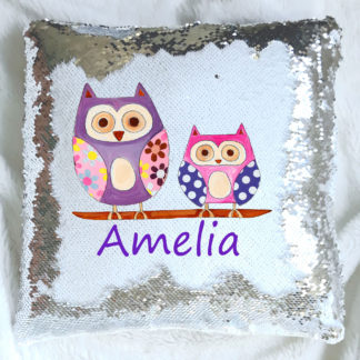 Hoot Owl Personalised sequin cushion