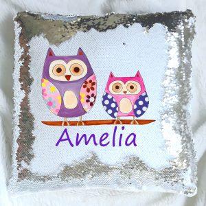 owl sequin cushions