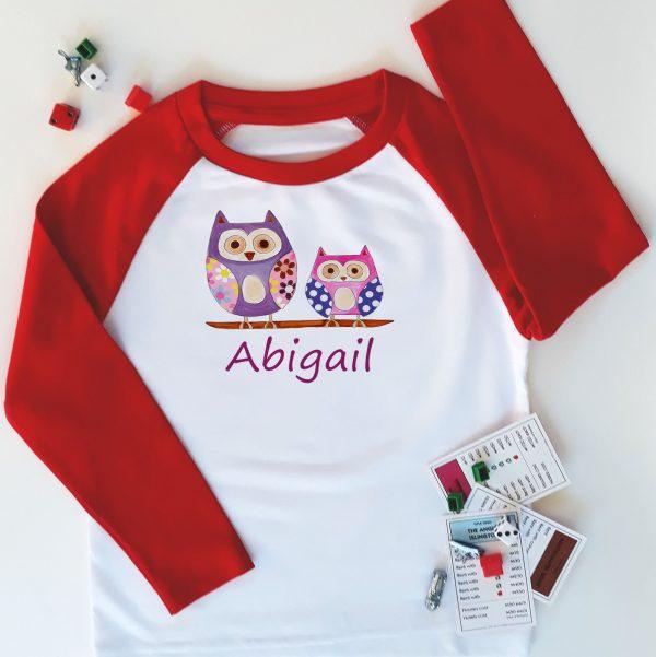 girls hoot personalised t-shirt