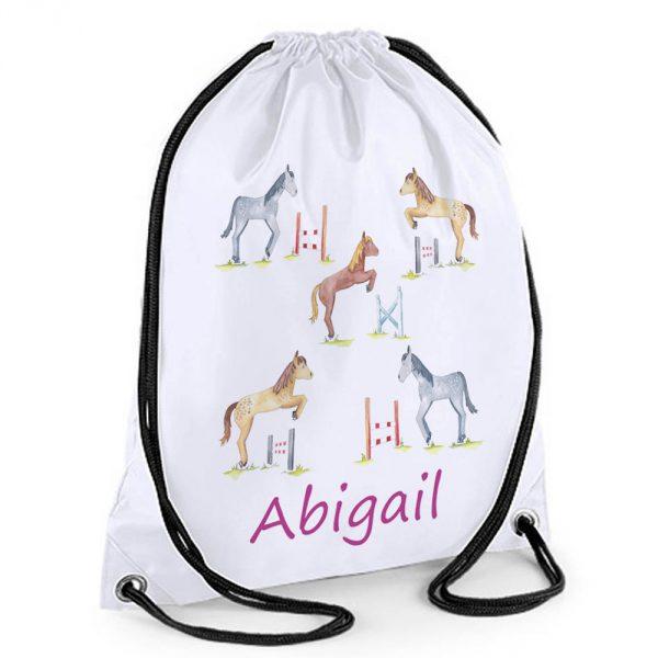 horse jump drawstring bag