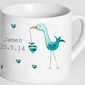 Personalised cup - blue stork