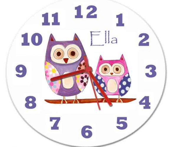 Personalised hoot owl clock