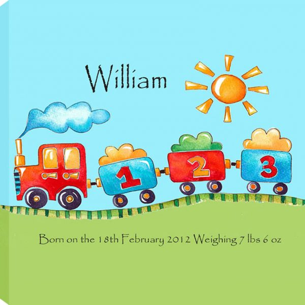 Personalised Baby name picture - train
