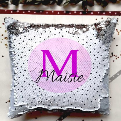 Letter name sequin cushion