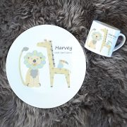 personalised jungle plate and cup
