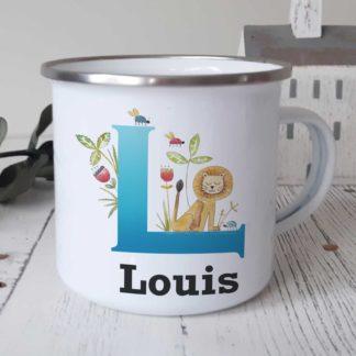 Lion Initial Enamel mug