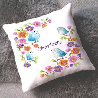 little birds baby girl cushion