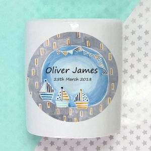 Personalised Moon & Boats Money Box