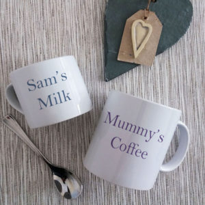 Personalised Mtching Mugs for mum and child