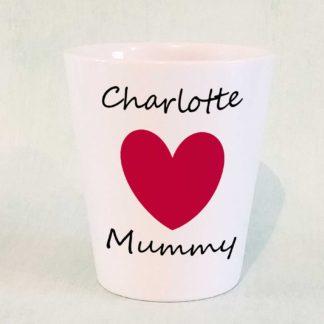 personalised heart mummy plant pot