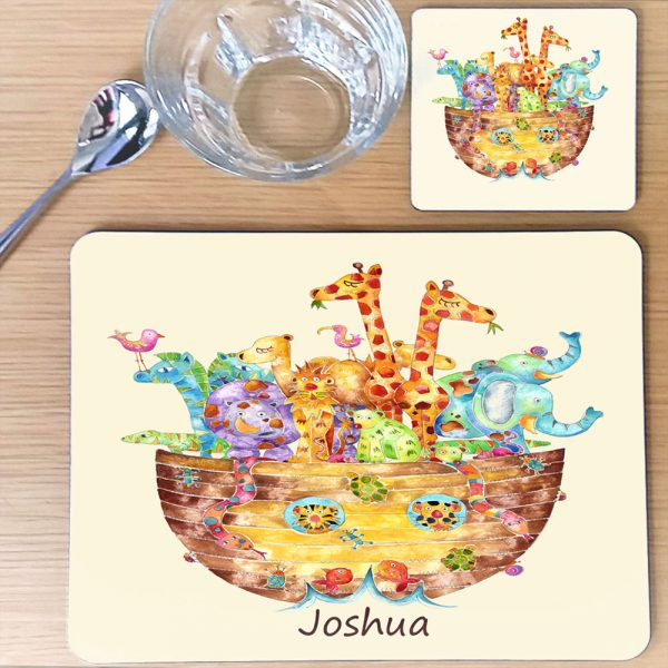 Personalised Place Mat. Perfect Christeninf Gift, Noahs Arc Table Mat, Animal Table Mat