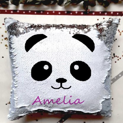 personalised panda sequin cushion