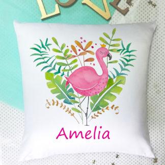pink flamingo girls cushion