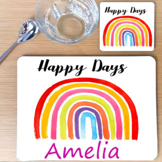 girls rainbow place mat