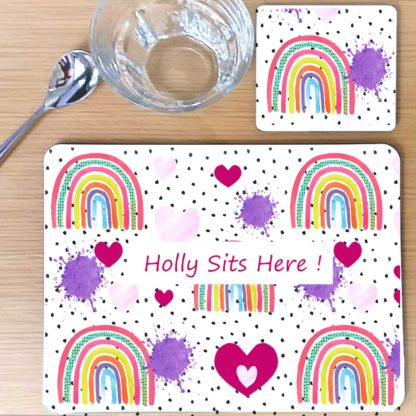 rainbow hearts placemat