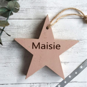 wooden personalised pink star