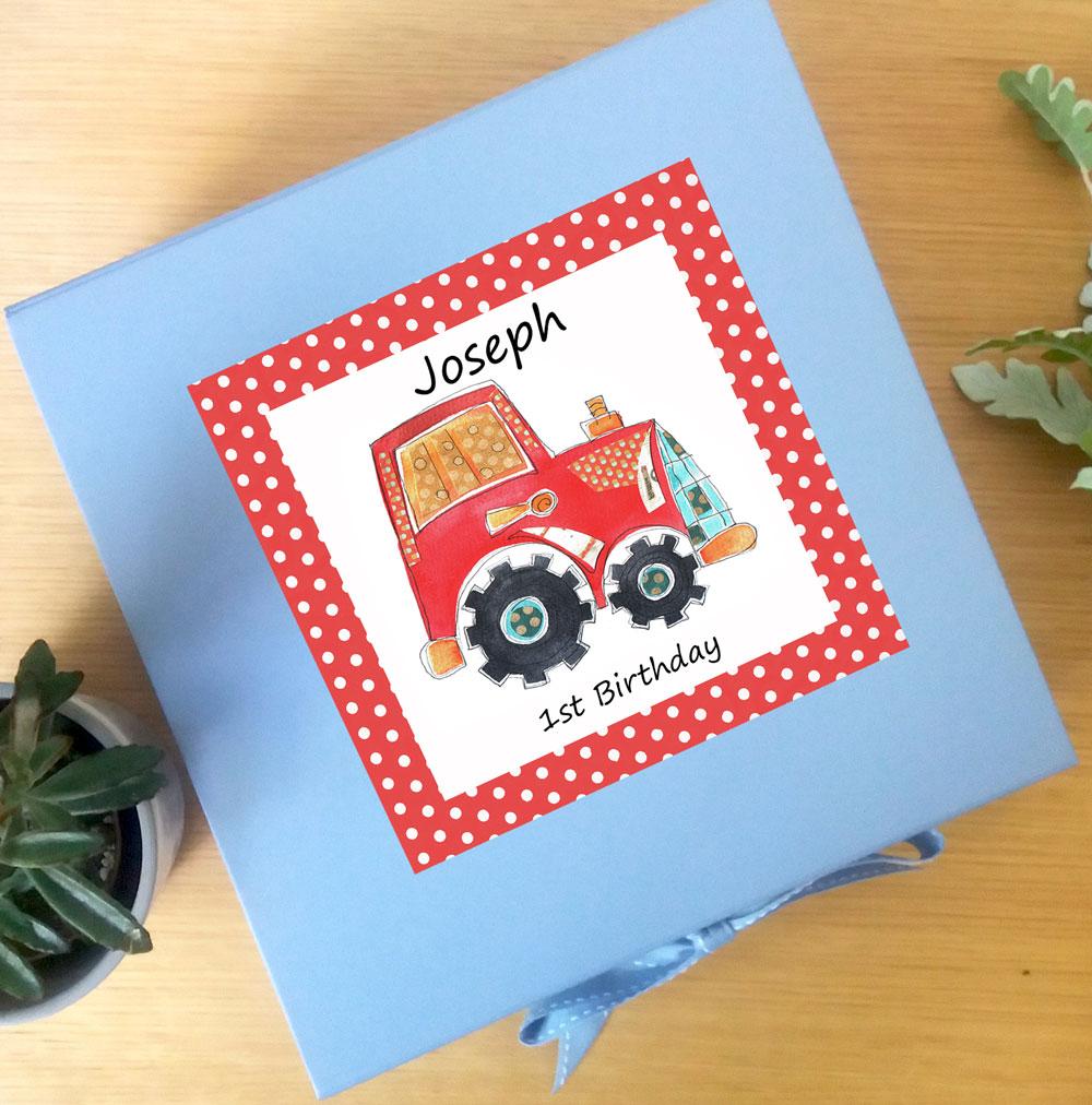 personalised tractor keepsake box