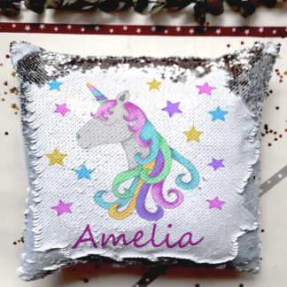 unicorn sequin cushion