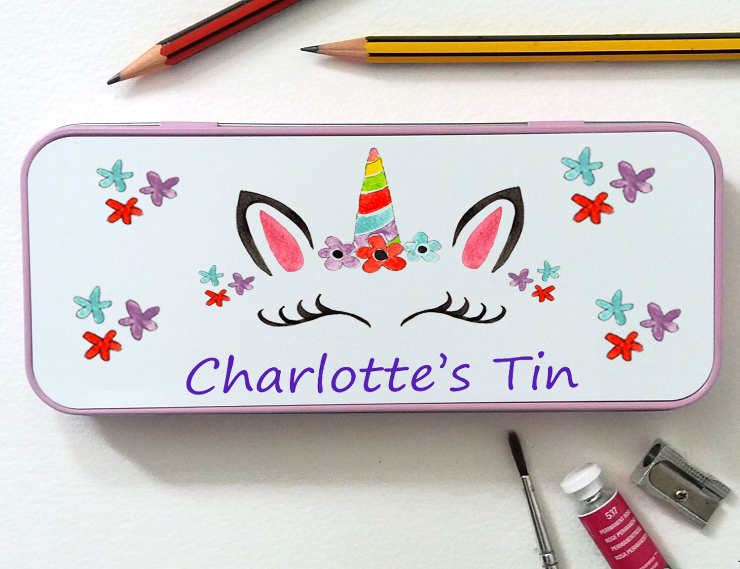 personalised girls pencil tin