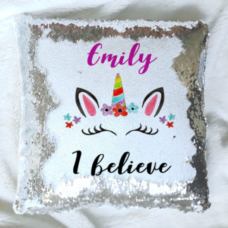 unicorn personalised sequin cushion