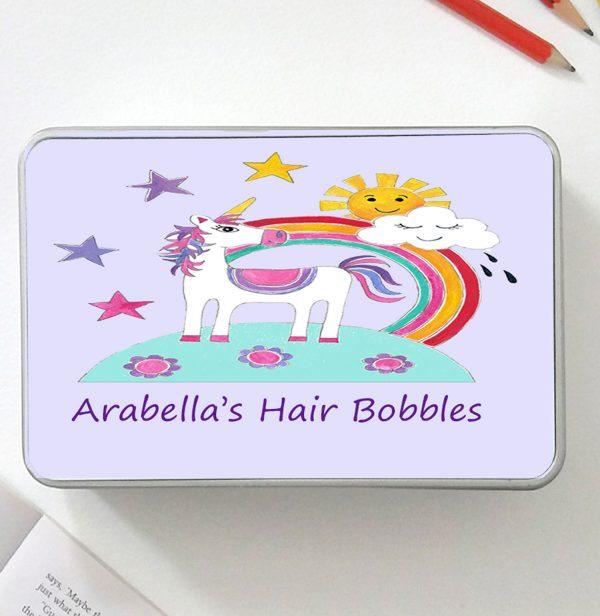 unicorn personalised tin