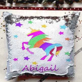 personalised unicorn reveal cushion
