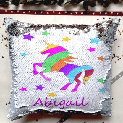 personalised unicorn reveal cushion