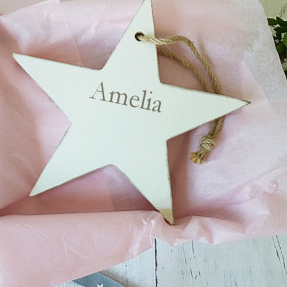 personalised baby girl wooden star