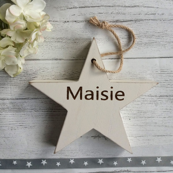 engraved wooden star